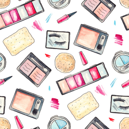 Watercolor Make up products set. Cosmetics. Seamless background Hand drawn Illustration