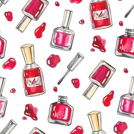 uñas pintadas: Acuarela Maquillaje productos establecidos. Productos cosméticos. De fondo sin fisuras de la mano Ilustración dibujado