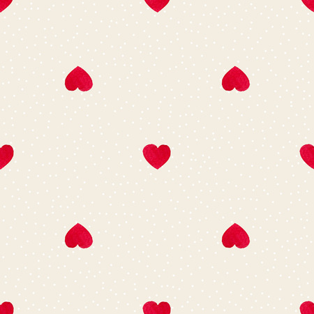 hearts background: Cute watercolor background Red hearts. Trendy pattern for printing on fabric or web