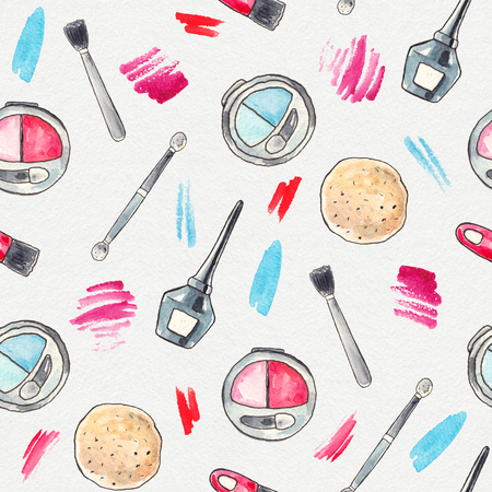 make up eyes: Watercolor Make up products set. Cosmetics. Seamless background Hand drawn Illustration
