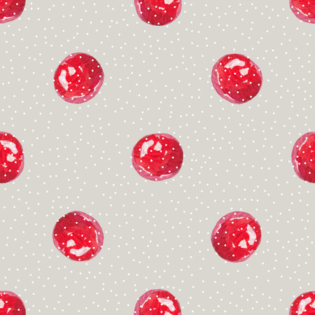 red currants: Cranberry cute background, watercolor illustration. Polka dots, Berry Hand drawn pattern.