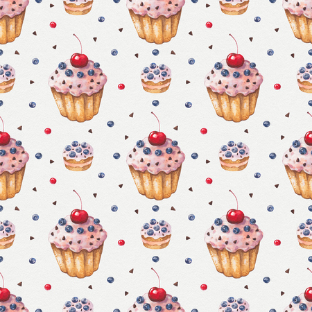 blueberry muffin: Watercolor colorful cupcake. Cherry, cream, blueberries. Hand painted abstract pattern. Seamless background. Vintage cute illustration Stock Photo