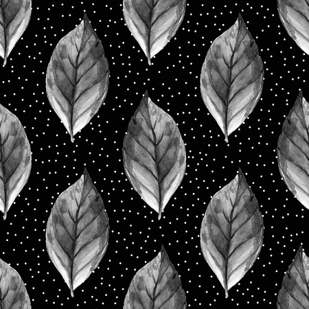 dry brush: Leaves. Hand Drawn watercolor seamless pattern. Abstract background, Seamless pattern with leaf. Stock Photo