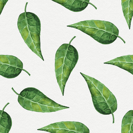 tileable: Hand painted abstract watercolor leaves pattern. Seamless spring illustration Stock Photo