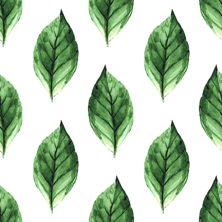 contrast: Hand painted abstract watercolor leaves pattern. Seamless spring illustration Stock Photo