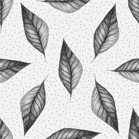 pressed: Leaves. Hand Drawn watercolor seamless pattern. Abstract background, Seamless pattern with leaf. Stock Photo
