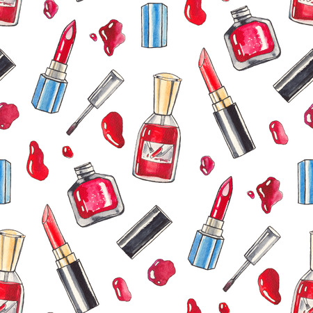 red lips: Watercolor Make up products set. Cosmetics. Seamless background Hand drawn Illustration