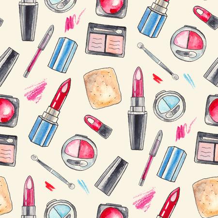 lipstick brush: Watercolor Make up products set. Cosmetics. Seamless background Hand drawn Illustration