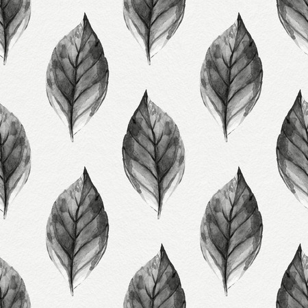 leaf pattern: Leaves. Hand Drawn watercolor seamless pattern. Abstract background, Seamless pattern with leaf. Stock Photo