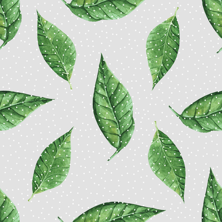 leaf water: Hand painted abstract watercolor leaves pattern. Seamless spring illustration Stock Photo
