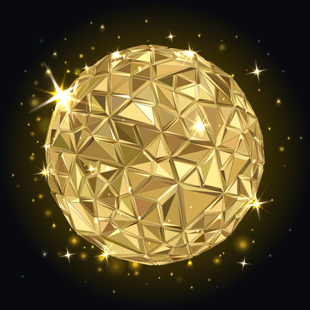 golden ball: Abstract 3D geometric illustration. Disco ball. Abstract poster