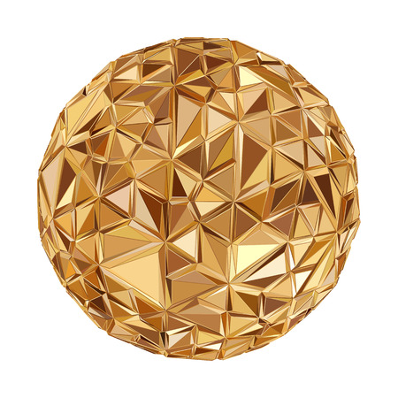 golden globe: Abstract 3D geometric illustration. Disco ball Isolated over white.