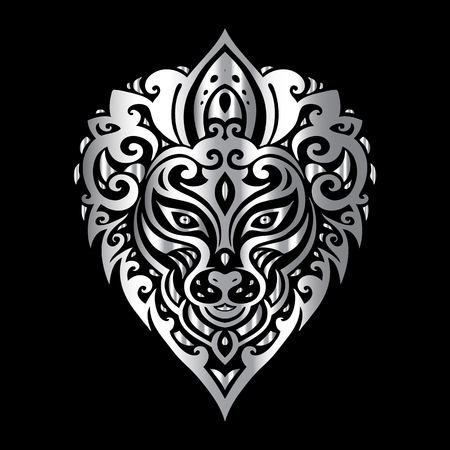 fashion design: Lions head Tribal pattern. Polynesian tattoo style. Vector illustration.