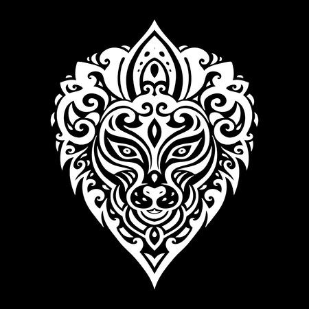 crown tattoo: Lions head Tribal pattern. Polynesian tattoo style. Vector illustration.