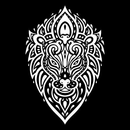 black silhouette: Lions head Tribal pattern. Polynesian tattoo style. Vector illustration.