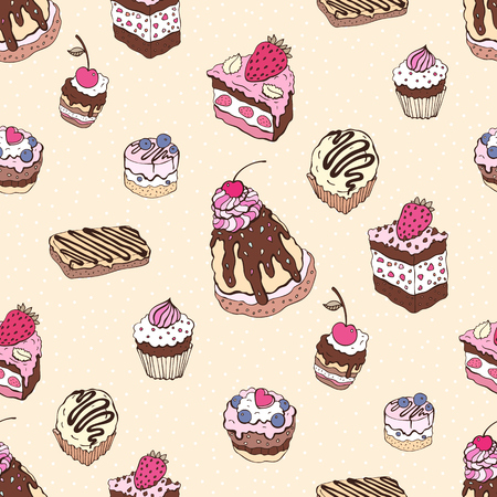 chocolate cakes: Seamless cupcake pattern. Yummy cute background. Hand drawn vector pattern.
