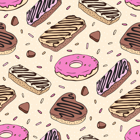 yummy: Doughnut. Yummy colorful cute background. Hand drawn pattern. Seamless vector illustration.