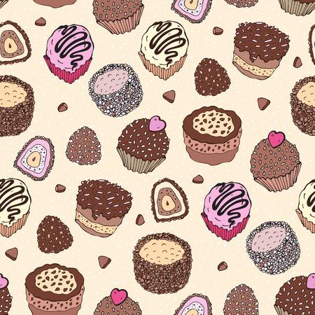 yummy: Seamless cupcake pattern. Yummy cute background. Hand drawn vector pattern.