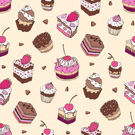 frosting: Seamless cupcake pattern. Yummy cute background. Hand drawn vector pattern.
