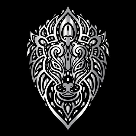 animal print: Cabeza de León tribal del modelo. estilo del tatuaje de la Polinesia.