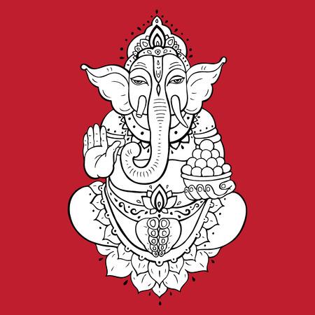 ganapati: Hindu God Ganesha. Golden Ganapati. hand drawn illustration. Meditation in lotus pose