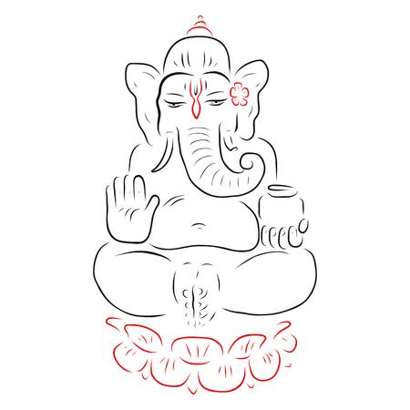 ganapati: Hindu God Ganesha. Golden Ganapati hand drawn illustration. Meditation in lotus pose