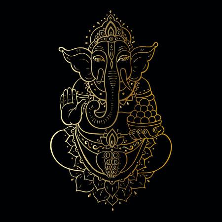 ganapati: Hindu God Ganesha. Golden Ganapati. illustration. Meditation in lotus pose