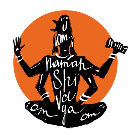 shiva: Lord Shiva Meditation in lotus pose. Yoga,Typography poster. Illustration