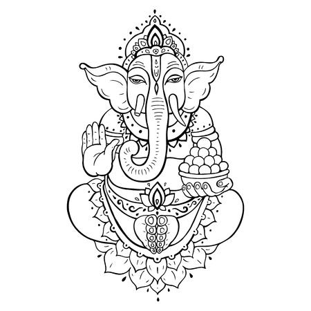 ganapati: Hindu God Ganesha. Golden Ganapati. Meditation in lotus pose