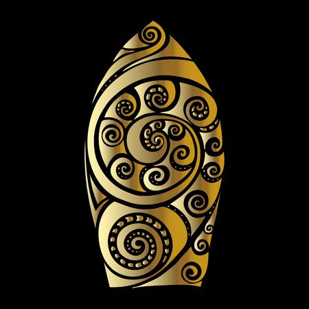 surf board: Golden Surf board. Illustration in the Polynesian style tattoo.
