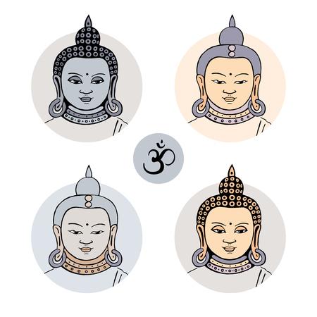 budha: face of Buddha. illustration, isolated on white background.