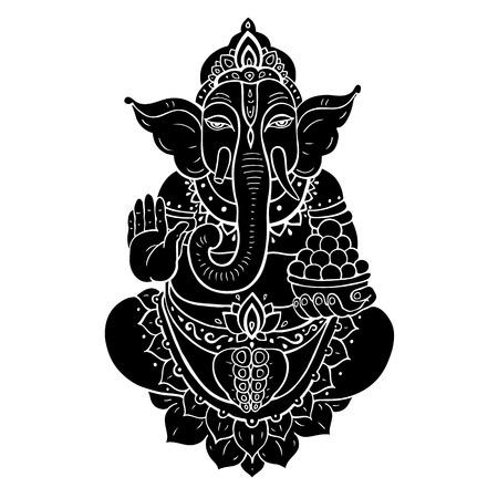 bali: Hindu God Ganesha. Ganapati. illustration. Isolated on white background Illustration