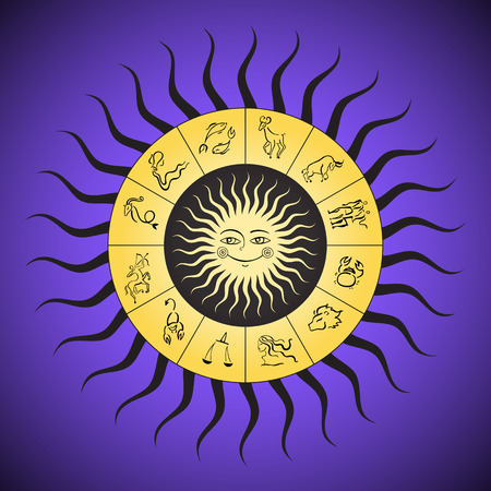 zodiak: Zodiac circle with horoscope signs. Sun with smile.  Boho style