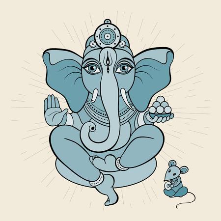 lotus pose: Hindu God Ganesha. Ganapati. Meditation in lotus pose