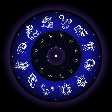 clairvoyance: Astrological zodiac circle. Horoscope hand drawn zodiac signs Illustration