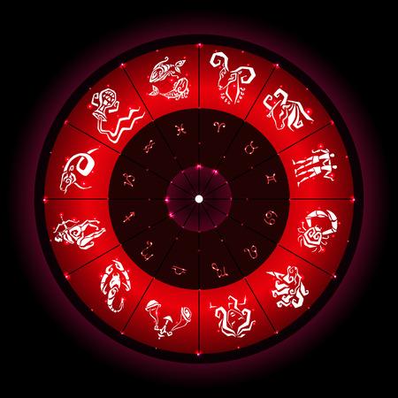 scorpion fish: Zodiac sign. hand drawn illustration. Zodiac circle with horoscope signs