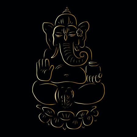 ganapati: Hindu God Ganesha. Golden Ganapati. Vector hand drawn illustration. Meditation in lotus pose