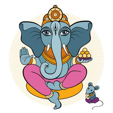 Ganesha and mouse. Vector hand drawn illustration