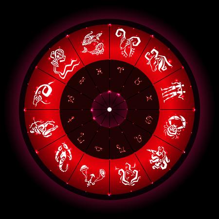 scorpion fish: Zodiac sign. Vector hand drawn illustration. Zodiac circle with horoscope signs