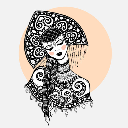 peasant woman: Russian traditional beauty girl. Hand drawn Illustration.