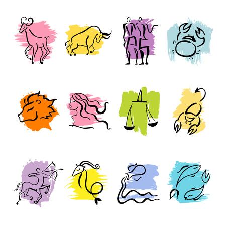 twelve: Horoscope Zodiac Star signs. Illustrations of twelve. Illustration