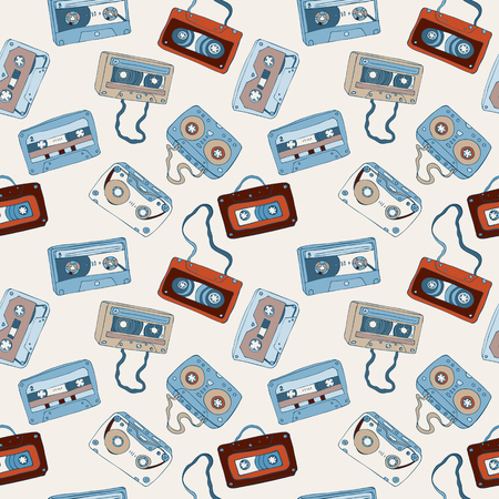 audio cassette: Seamless pattern of cassette tapes. Audio cassette. Vector background.