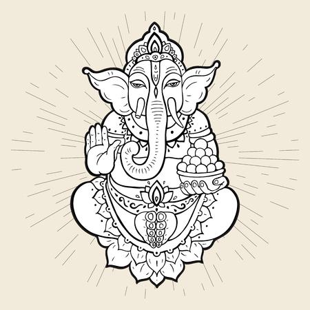 indonesia culture: Hindu God Ganesha. Ganapati. Vector hand drawn illustration. Isolated on white background