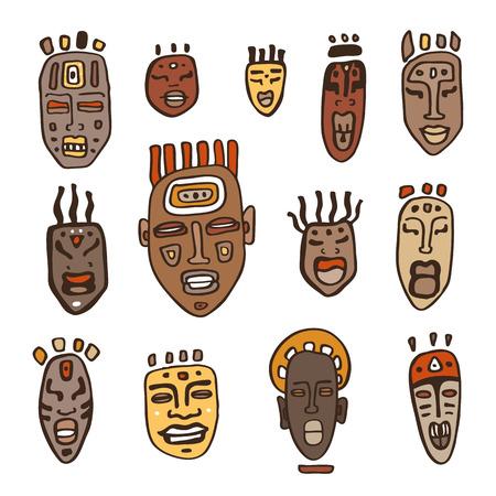 wooden mask: Set of African masks. Tribal masks on white background. Vector illustration isolated on white background.