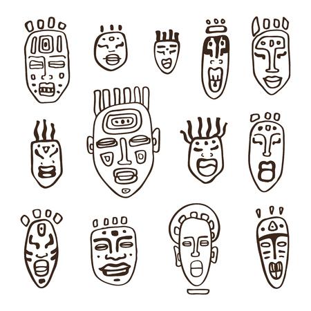 Set of African masks. Tribal masks on white background. Vector illustration isolated on white background. Vektorové ilustrace