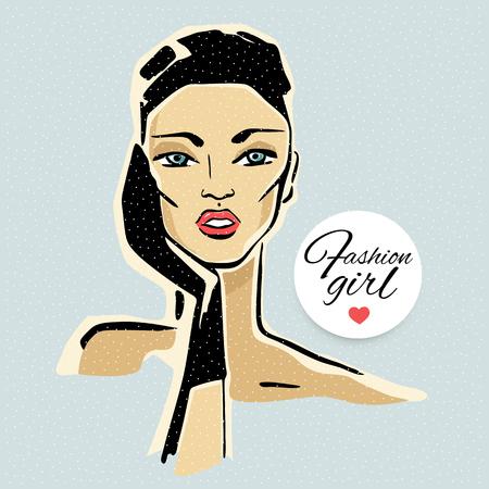 Moda hermosa mujer, retrato. Ilustración del vector dibujado a mano