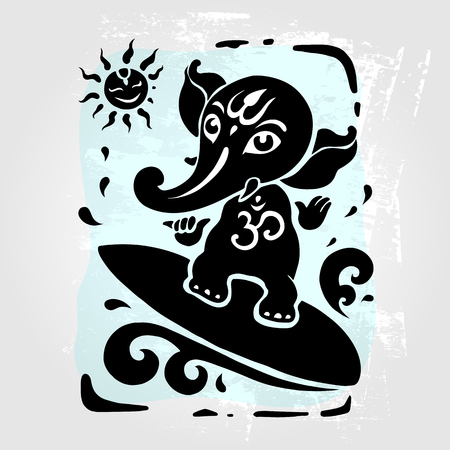 tantra: Ganpati, Hindu God Ganesha. Vector hand drawn illustration