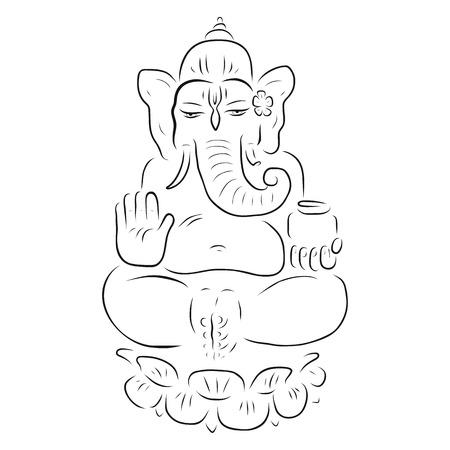 ganapati: Hindu God Ganesha. Ganapati. Vector hand drawn illustration. Meditation in lotus pose