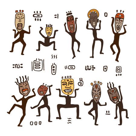 figure danzanti in maschere africane. arte primitiva. Illustrazione vettoriale. Vettoriali
