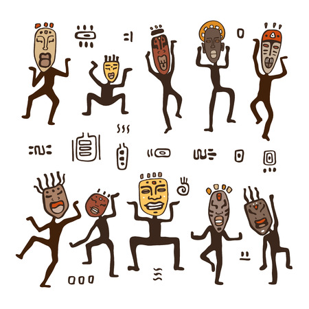 Dancing figures in African masks. Primitive art. Vector illustration. Illustration